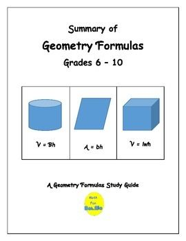 These Mini-Posters list geometry formulas used by grades 6-10.Formulas cover area, perimeter, surface area, volume, circumference, and area and perimeter of composite figures.By Math Fan