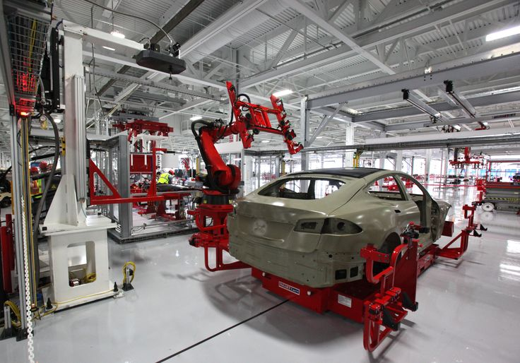 A Tesla Model S being manufactured at the Tesla Factory