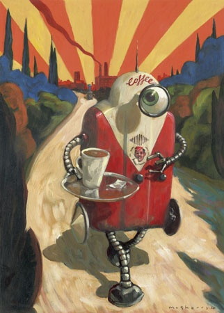 Coffee Time. Self-promotional image in acrylics on paper. I really enjoyed making this one!