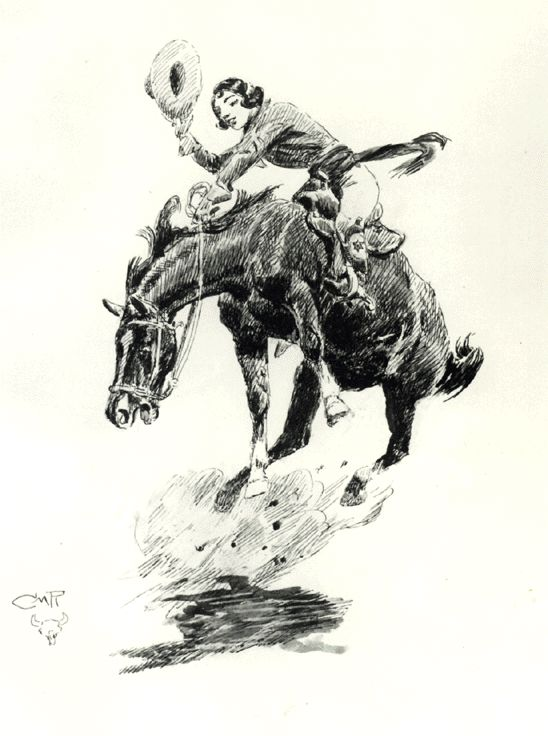 C.M.Russell's Rodeo Cowgirl on a Bucking Bronc