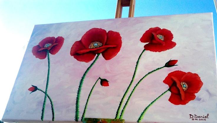 ''Maci''. Pictura in ulei pe Panza; Dimensiuni : 30/50cm; Culori in Ulei : Daco & CFP. VANDUT