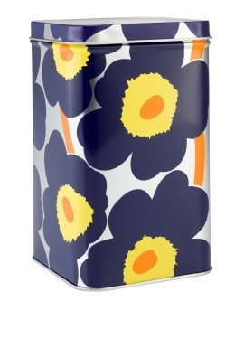 Marimekko Pieni Unikko tins (pattern by Maija & Kristina Isola) I can't get enough of this pattern in all its color ways.