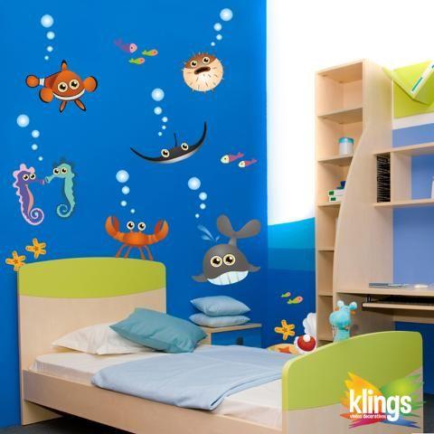 Vinilos decorativos infantil acuario animales marinos wall sticker decor decoraci n de - Decoracion acuario marino ...