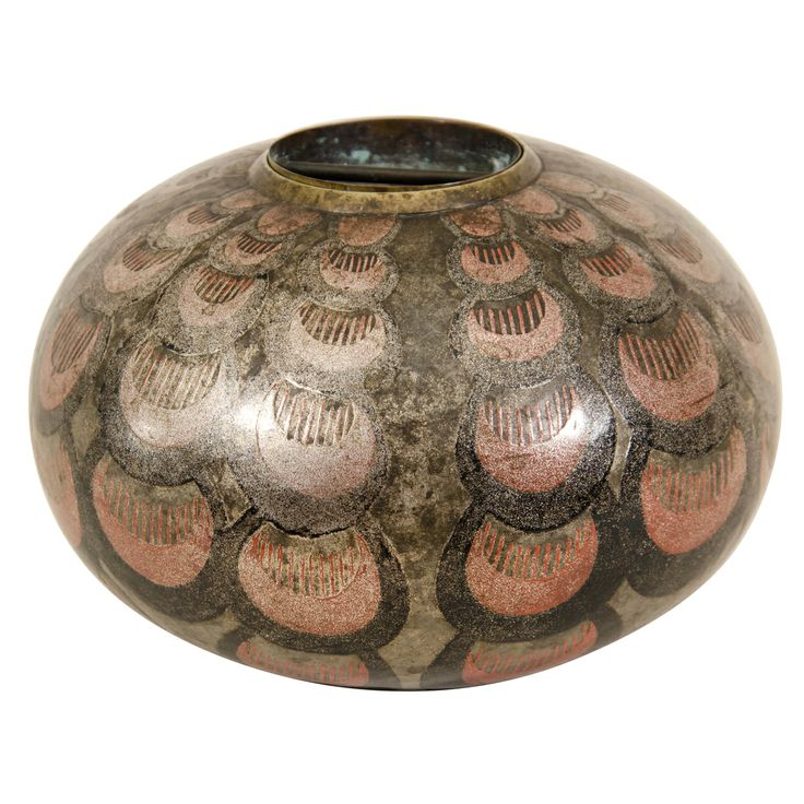 1stdibs.com   Art Deco Spherical Lacquered Vase by Jean Dunand