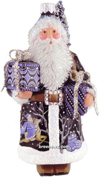 Enchanting Santa  Patricia Breen (Romanoff,Blue, Black, Gifts, Christmas, Ornament)