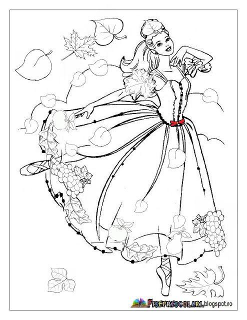 Planse cu ZANA TOAMNA - Imagini de colorat | Fise de lucru - gradinita
