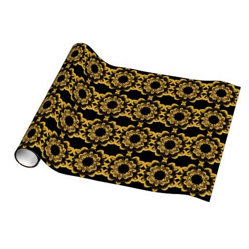 Gift Wrap   Retro Black and Gold Mandalas