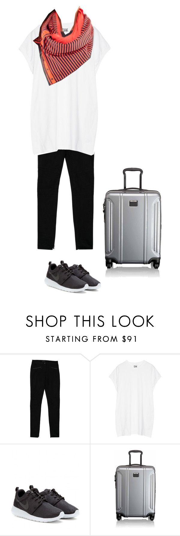 """Warm weather airport outfit - drapey tshirt, Lululemon vinyasa wrap, black leggings, Nikes"" by wrymommy ❤ liked on Polyvore featuring Belstaff, Oak, lululemon, NIKE and Tumi"