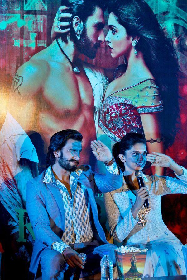 Ram-Leela stars Deepika Padukone and Ranveer Singh at promotions in Bangalore. #Bollywood #Fashion #Style #Beauty