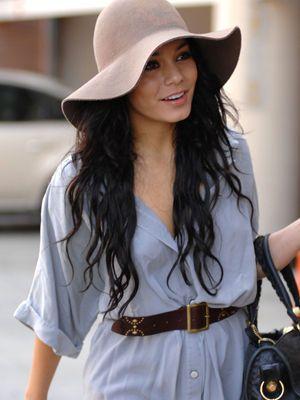 Vanessa Hudgens sporting a cute beige floppy wide brim. Boho chic.