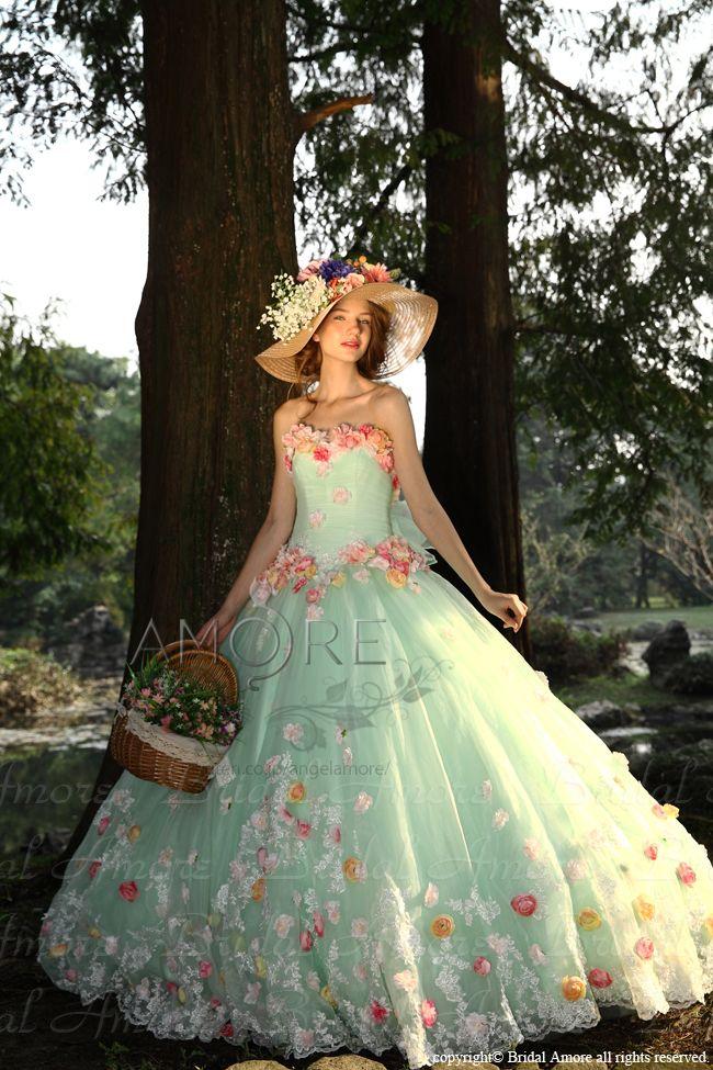 【楽天市場】【送料無料】ウェディングドレス_ウエディングドレス_カラードレス_花ドレス(c116):ブライダルアモーレ