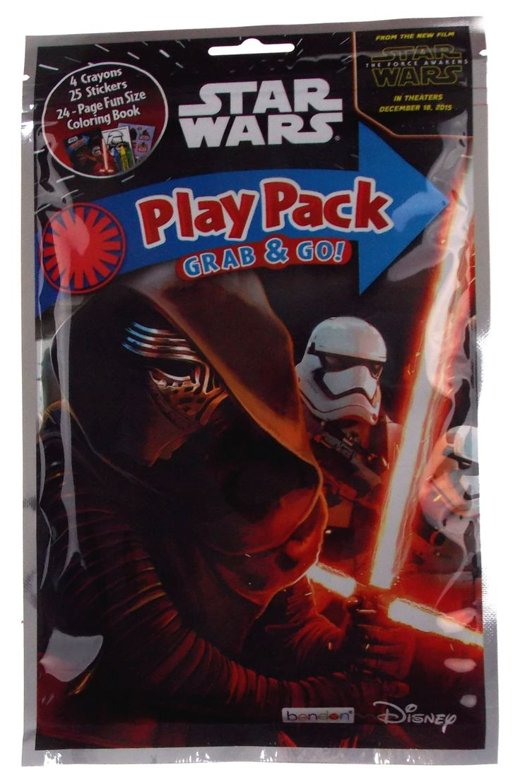 Star Wars Play Pack Kylo Ren Grab & Go Set 12 Coloring Book Crayons Stickers