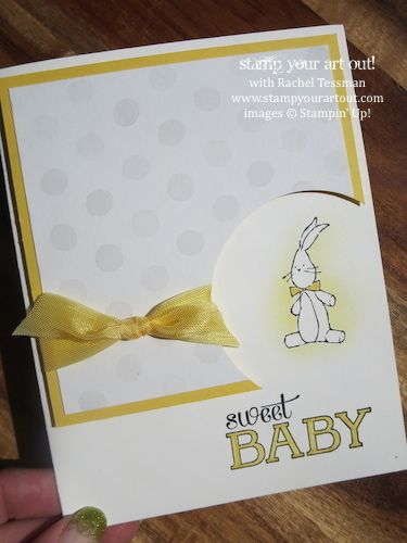 Sweet Baby Bunny Card with Baby, We've Grown stamp set – Masking Technique shown on here… Stampin' Up!® - Stamp Your Art Out! www.stampyoura... :))