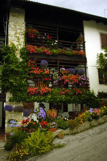 Balconi fioriti a Andreis, Friuli province of Udine, FRIULI Venezia GIULIA region of Italy