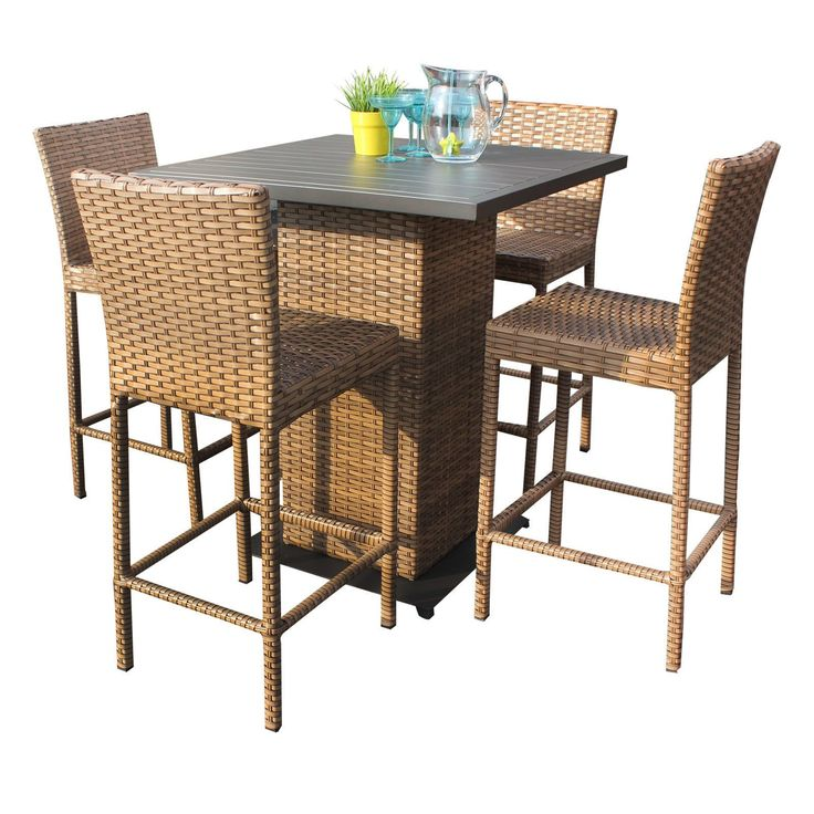 Bayou 5 Piece Outdoor Patio Wicker Pub Table Set with Barstools