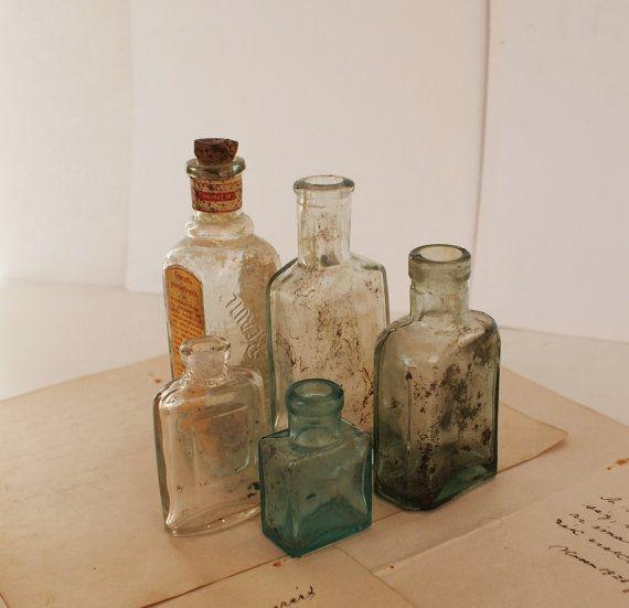 Antiguos médicos/Perfume - botellas de boticario - mediano, pequeño y Extra pequeño - 1900