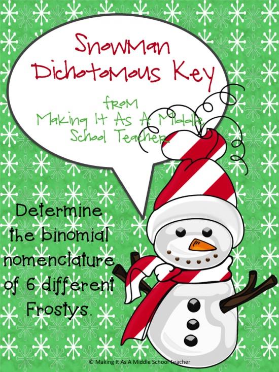 Snowman Dichotomous Key product from Making_It_Teacher on TeachersNotebook.com