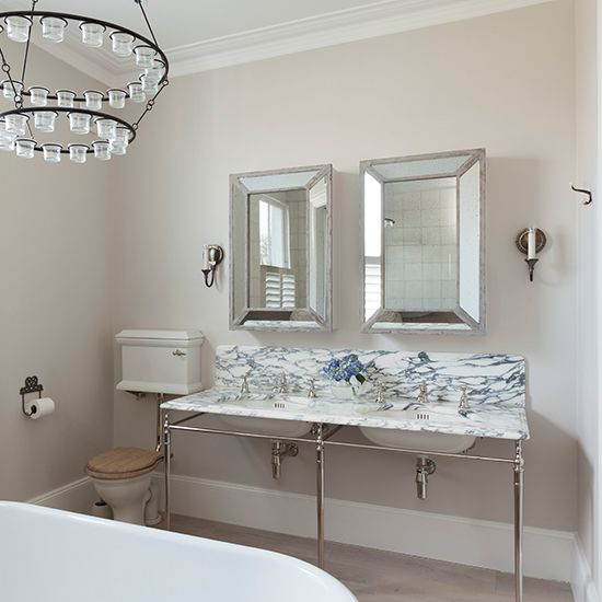 Walls in painted in Farrow & Ball's Skimming Stone | Designed by Sophie Rogerson of RFR, rfrproperty.com, with fittings by Drummonds, drummonds-uk.com | Homes & Gardens | http://www.hglivingbeautifully.com/2015/01/28/an-elegant-designer-bathroom-in-london/