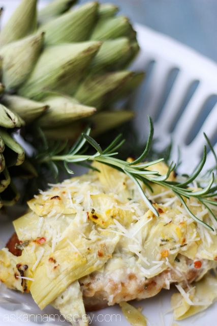 Creamy Artichoke Chicken- Yum! This was very good! I loved the rosemary mixed with the lemony artichoke sauce on top! This meal came together very fast and was super easy to make! Great recipe!