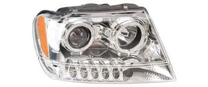 Jeep Grand Cherokee Anzo Headlights - Projector w/ Halo (Chrome)