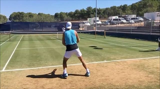 Isn't this a sweet view - #Nadal in action, 2017 #GrassPractice - Court Level View / DM your #CourtLevelView videos and you'll have chance to be featured! #etennisleague #etennisleaguenation