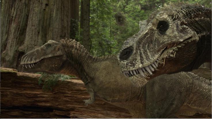 Dinosaur Revolution a mating pair of T.rex Dinosaurs