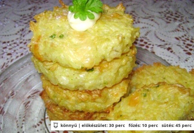 Sült sajtos rizspogácsa