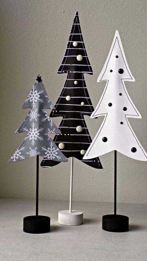 Sapins noir et blanc en papier pour la décoration de #Noel: