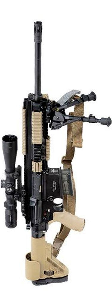 2013 MR762 LRP: Taking an essentially standard MR762A1 (caliber 7.62 x 51 mm NATO) semi-automatic rifle, Heckler & Koch USA turns it into a more effective precision rifle by an astute addition of the right optics and accessories. A Leupold 3-9VX-R Patrol 3-9 x 40 mm scope and mount, HK G28 adjustable cheekpiece buttstock, and LaRue Tactical BRM-S bipod are the primary add-ons that make the MR762A1 Long Rifle Package (LRP) more than a sum of parts.