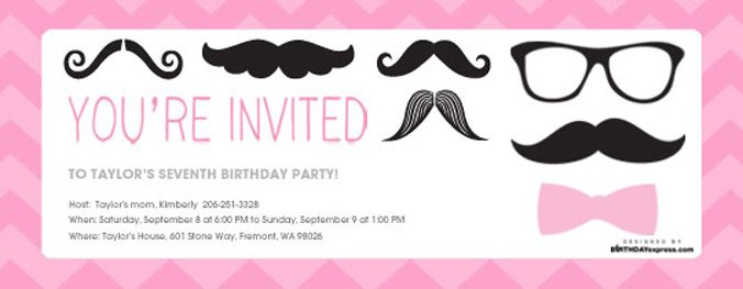 Pink Mustache Party Evite