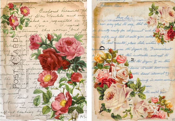 """art journal inspiration: 8 """"Floral"""" Postcard Background Hang Gift Tags for Scrapbook Pages 33 