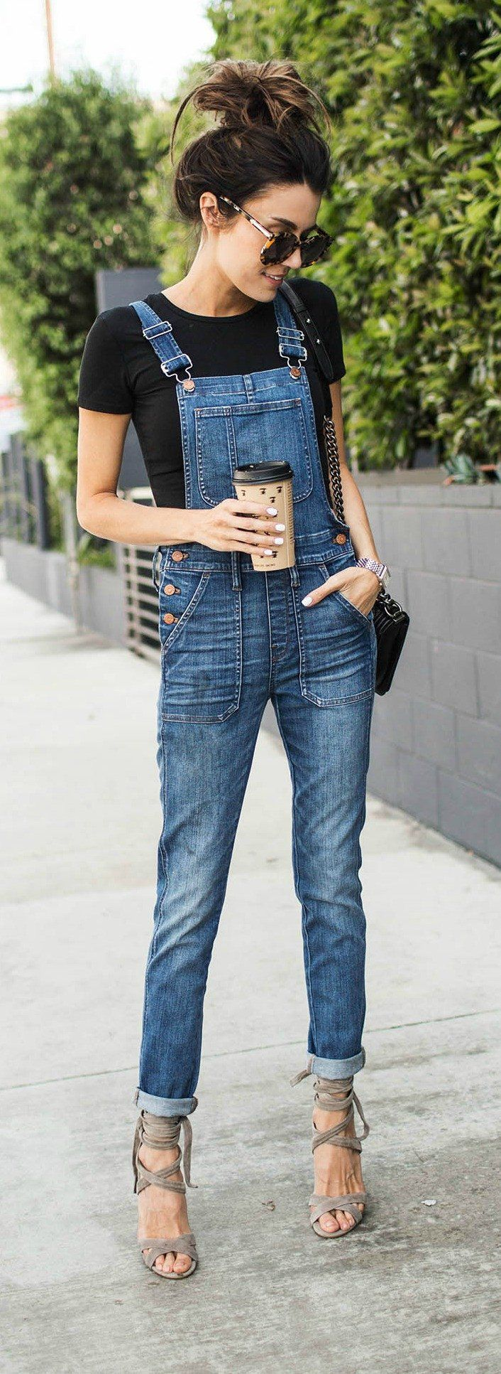 Black Tee & Denim Overall & Grey Laced Up Sandals
