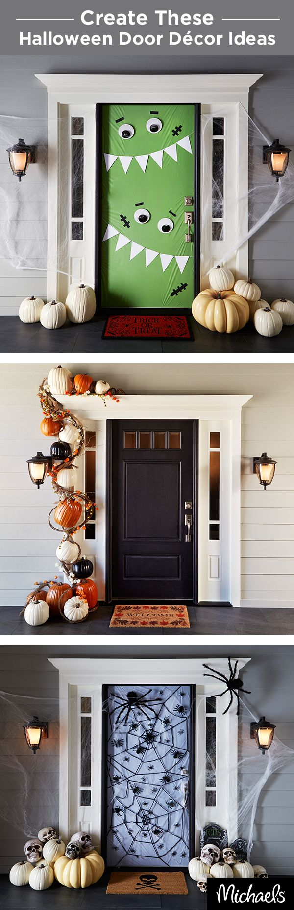halloween decorations decorate your front door for trick or treaters this halloween these 3 door dcor ideas are simple to make and will welcome even the - Halloween Front Doors