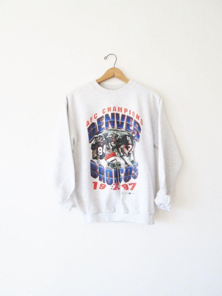 Vintage 1990s Denver Broncos AFC Champions NFL Sweatshirt Sz M by FreshtoDeathVintage on Etsy