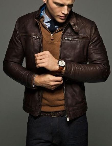 Mens Slim fit leather jacket, Men brown leather jacket, leather jacket mens - Outerwear