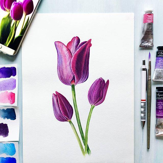 🔹️imperial purple🔹️ Мои пурпурно-фиолетовые тюльпаны для #ботанический_баттл_елена_мороз для этапа синий/фиолетовый в #ботанический_баттл в команде Лены @ihappygirl 🔹️ Этапы я показывала в сторис и сегодня попозже выложу отдельным постом детали крупнее 🔹️ бумага Lana fin (100% хлопок) 300гр, формат 23х31