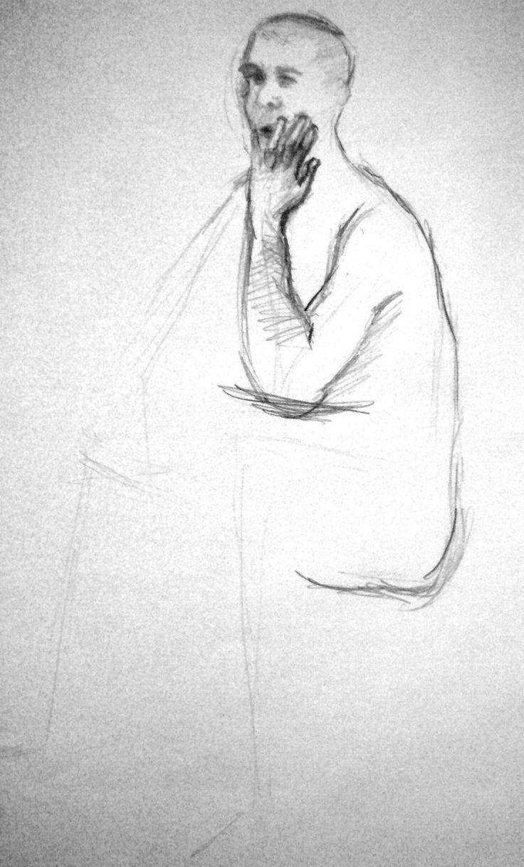 Bozzetto #Sketch  #Schizzo #Nudo, Studio di #Modello, #Uomo Seduto, Grafite su Carta  Disegnatrice #SaraMorghese