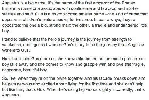 John Green explains the significance of Augustus Waters's name.