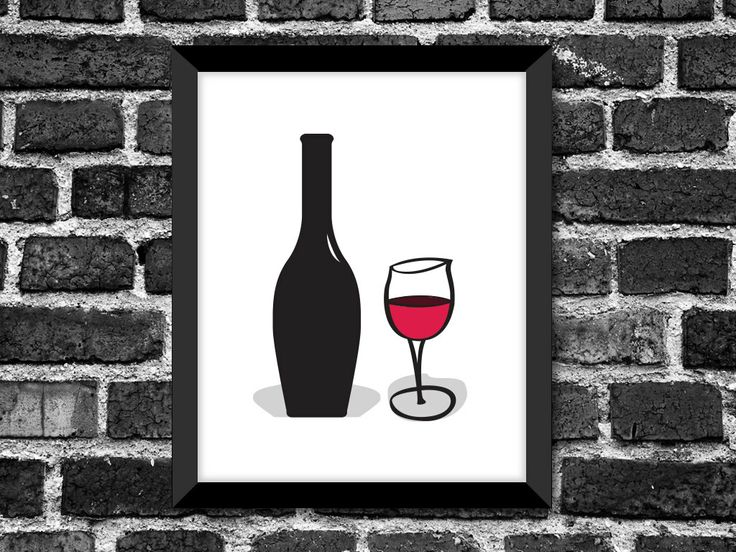 Modern Wine Glass and Bottle Art Print / Great Gift for any Occasion / Kitchen Décor / Choice of color. $18.00, via Etsy.