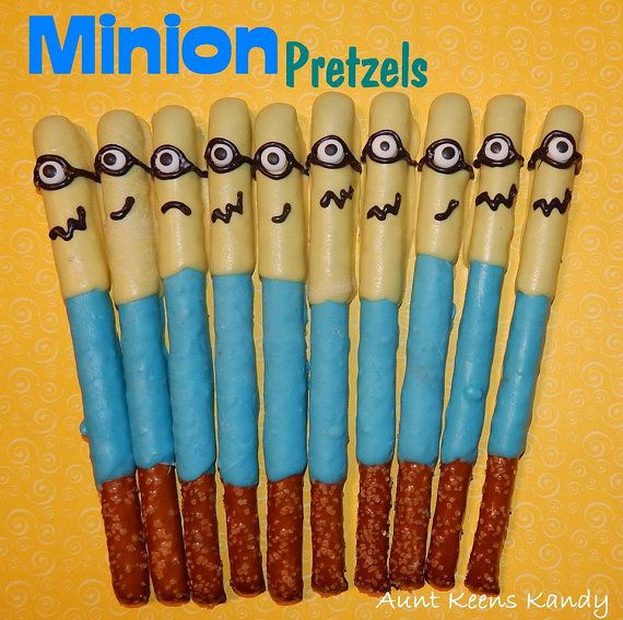 Despicable Me Minion Chocolate Covered Pretzel by AuntKeensKandy
