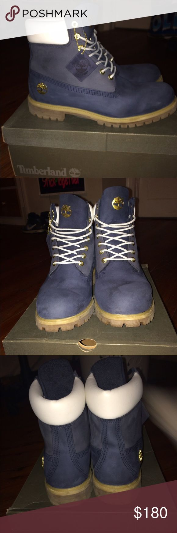 Limited Edition Blue/Gold/White Timberlands $180 OBO. Original price was $240. Only worn twice. My brother bought the wrong size, so they aren't comfortable for him to wear. Size 12.😊 Timberland Shoes Boots