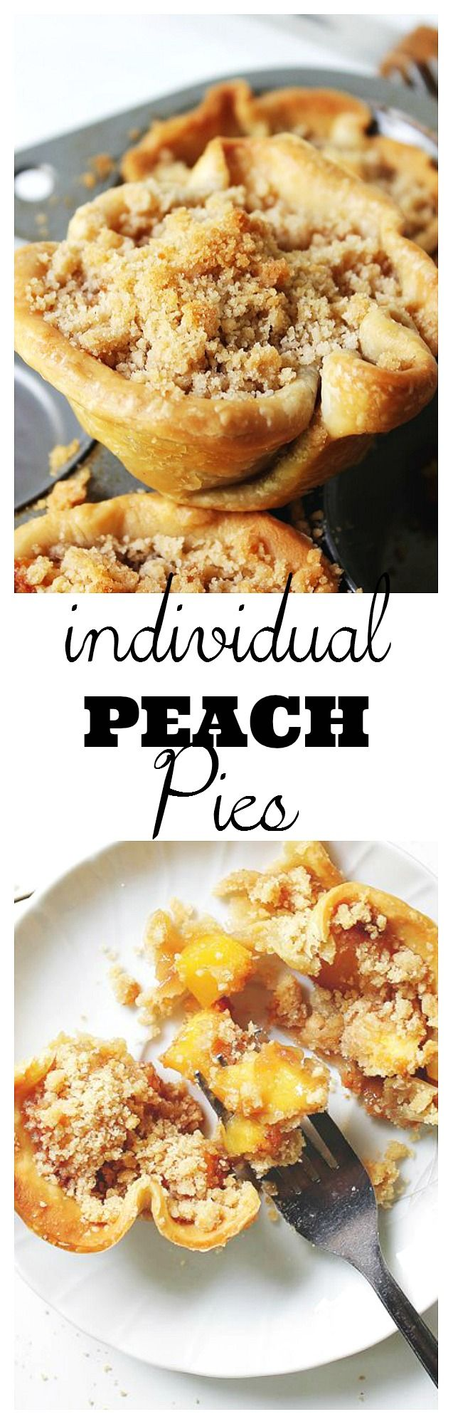 Individual pies filled with an extraordinary pie filling of diced fresh peaches, ginger, brown sugar, and finished off with a crumb topping.