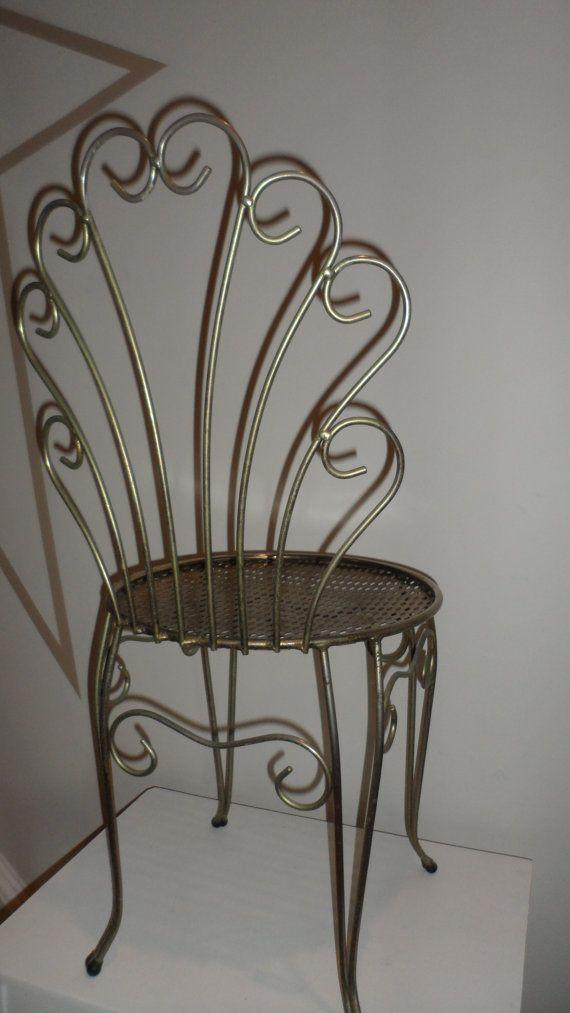Vintage Hollywood Regency Metal Vanity Chair Small Schroll Back 1950s