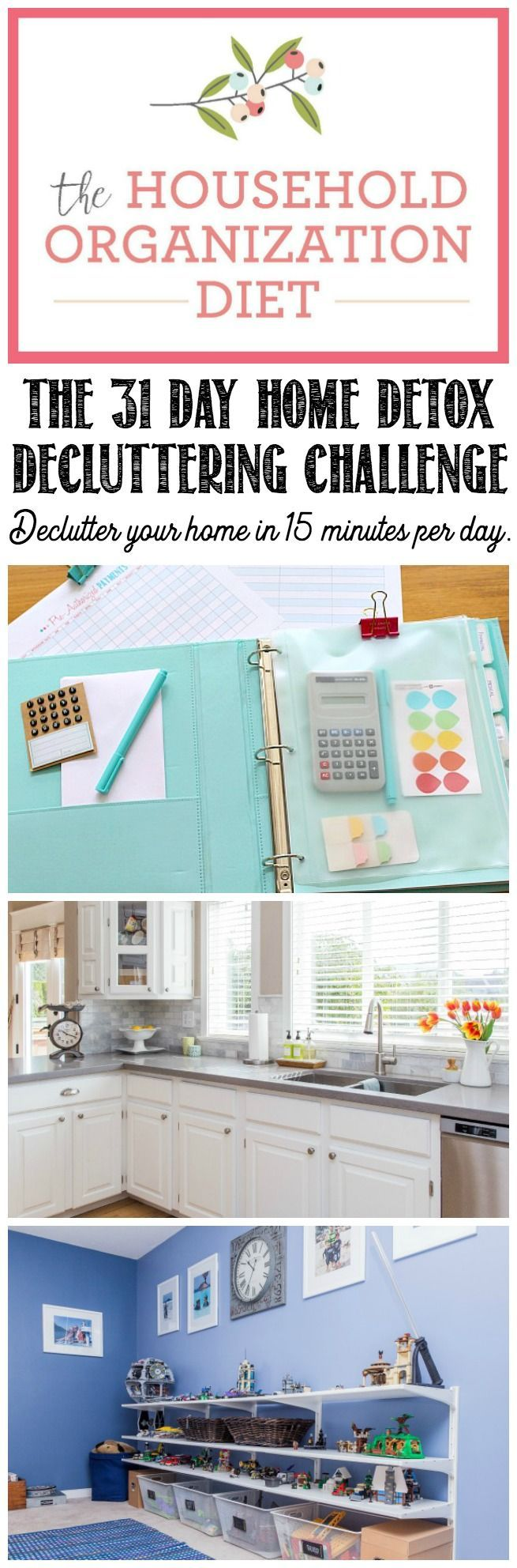 Jumpstart your home decluttering and organization with this 31 day home detox. Just 15 minutes per day to get rid of all of that unwanted stuff that's weighing you down! Start at any time! Free printables included.