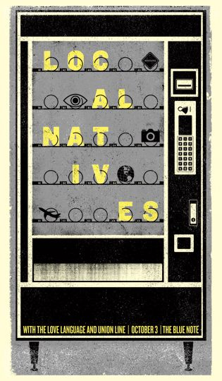 Local Natives by Drew Roper. Poster for their show at The Blue Note in Columbia, MO.