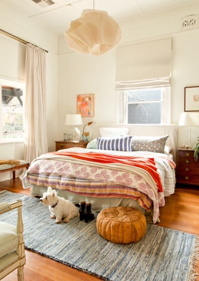 That light fixture / warm & bright traditional bedroom / bohemian details / styling