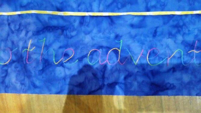 Stem stitch.  Verigated thread.  Cot quilt... almost finished. ..  Joy Ott