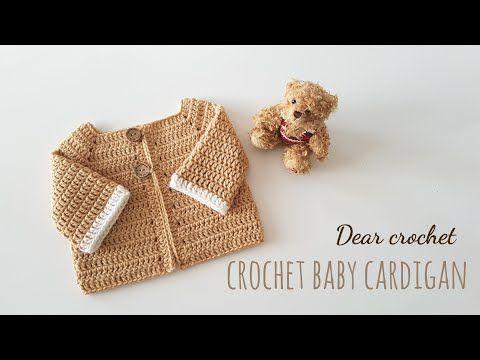 태교 뜨개질)아기 가디건 만들기 : 신생아,6개월,1년생 세가지 사이즈 (crochet baby Cardigan) - YouTube