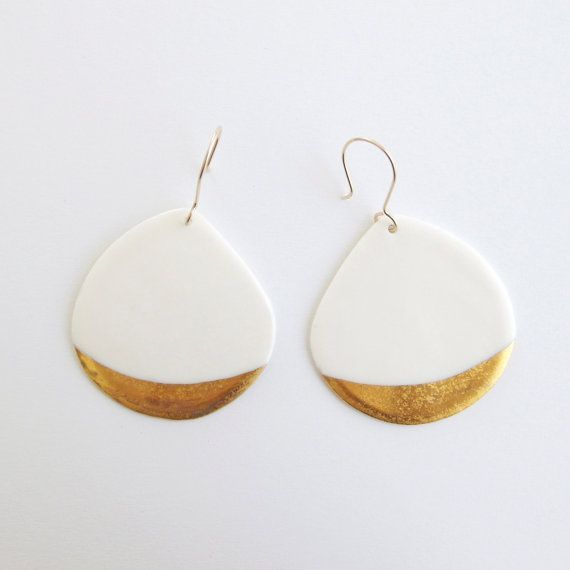 A n a ï s - Ceramic jewellery - White Porcelain earrings & gold patterns - Gold filled earwires - Telline Collection
