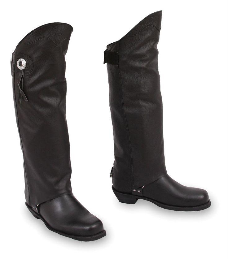 Mens Or Ladies Leather Half Chaps Gators Velcro Adjustable Leg Strap FMC